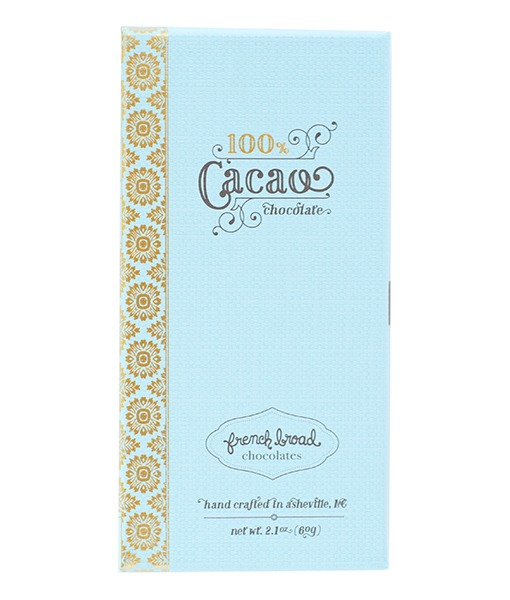 French Broad 100% cocoa dark chocolate bar