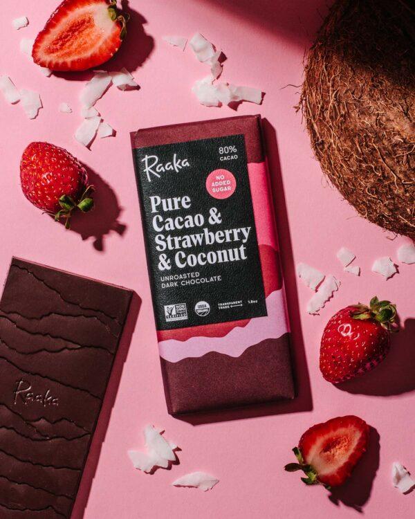 Raaka Pure Cacao Strawberry and Coconut 80%
